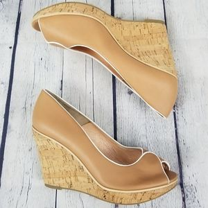 PORTIA | cork heel nude leather peep toe shoes